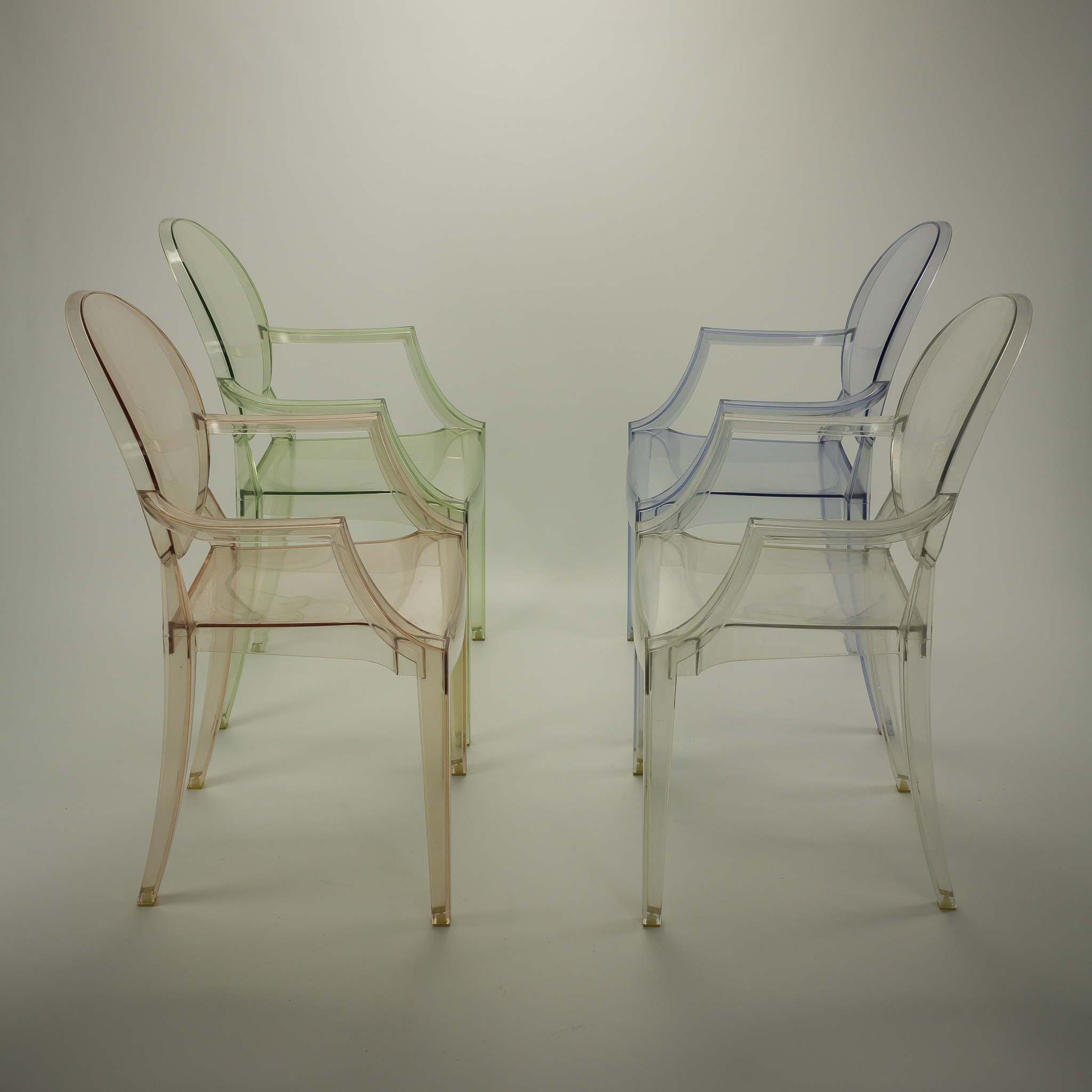 Philippe starck louis ghost design stoel by kartell set 4 for Starck stoelen