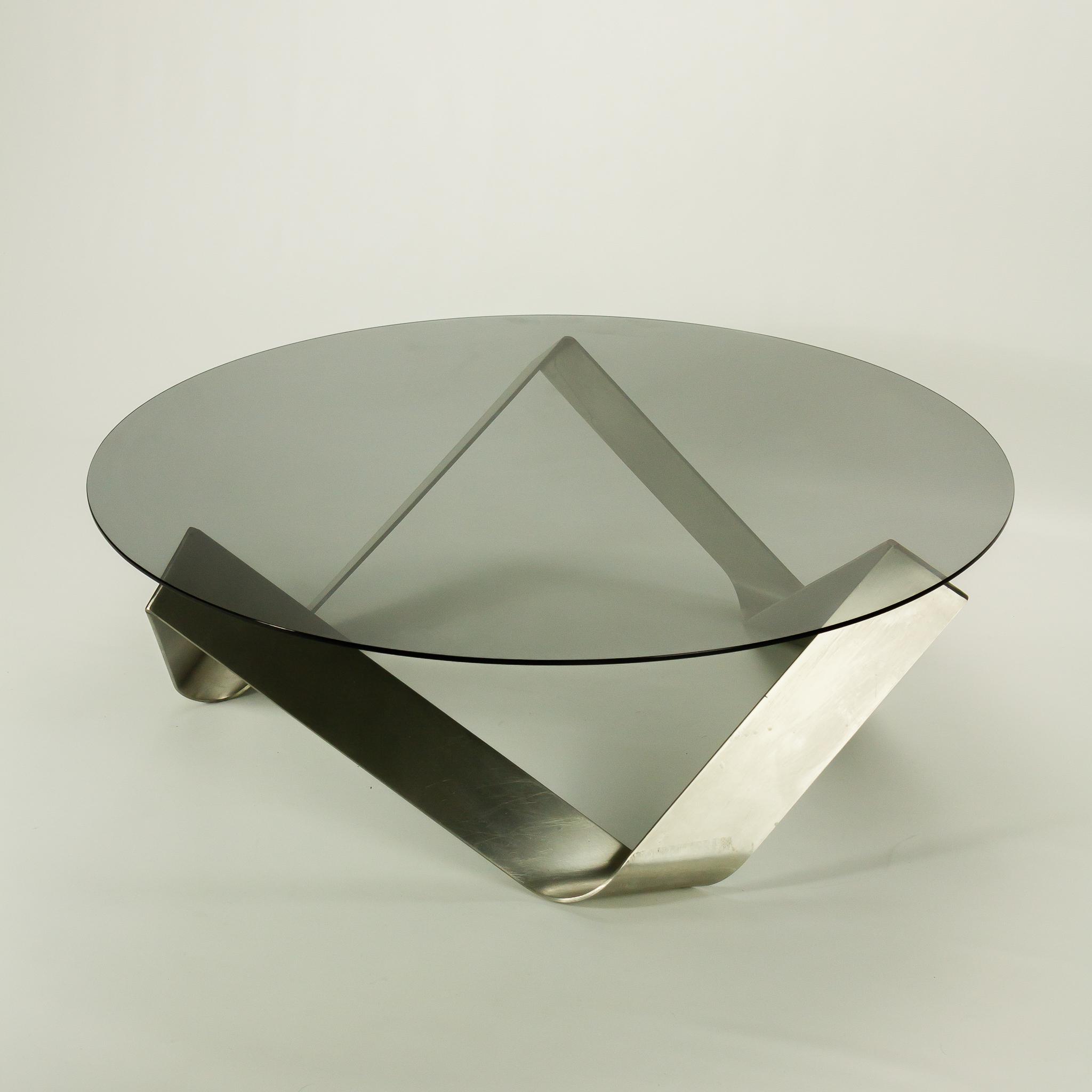 Design Bijzettafel Chroomglas.60 S Ronald Schmitt Stijl Salontafel Rvs Glas Barbmama