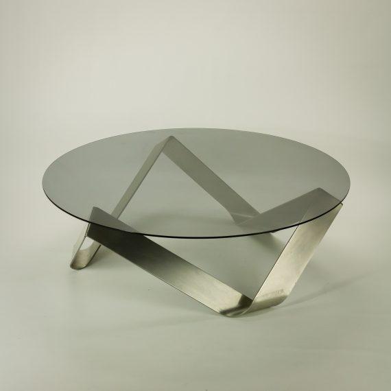 60 s ronald schmitt stijl salontafel rvs glas barbmama for Ronald schmitt