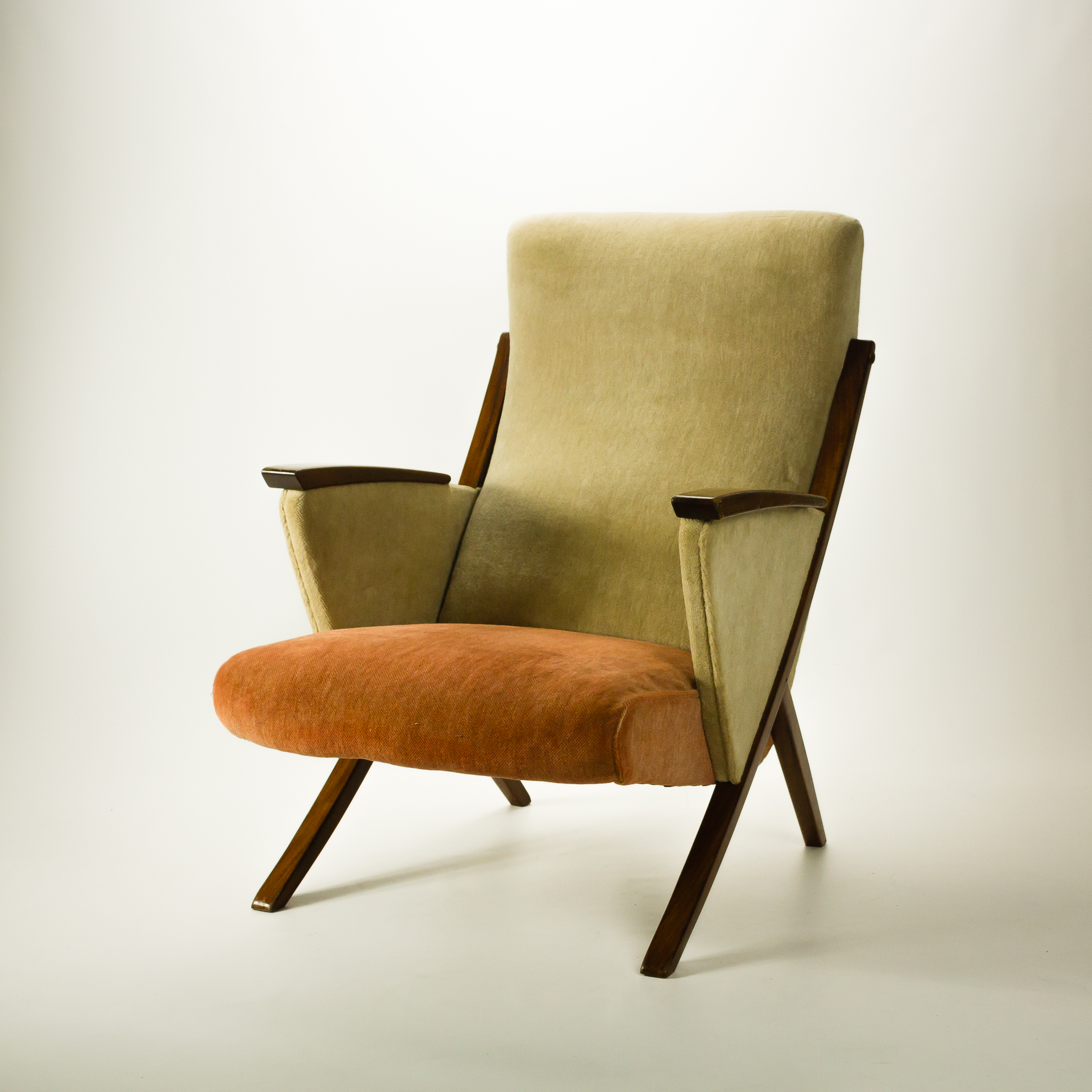 60 s fauteuil oranje bruin beige teak barbmama. Black Bedroom Furniture Sets. Home Design Ideas