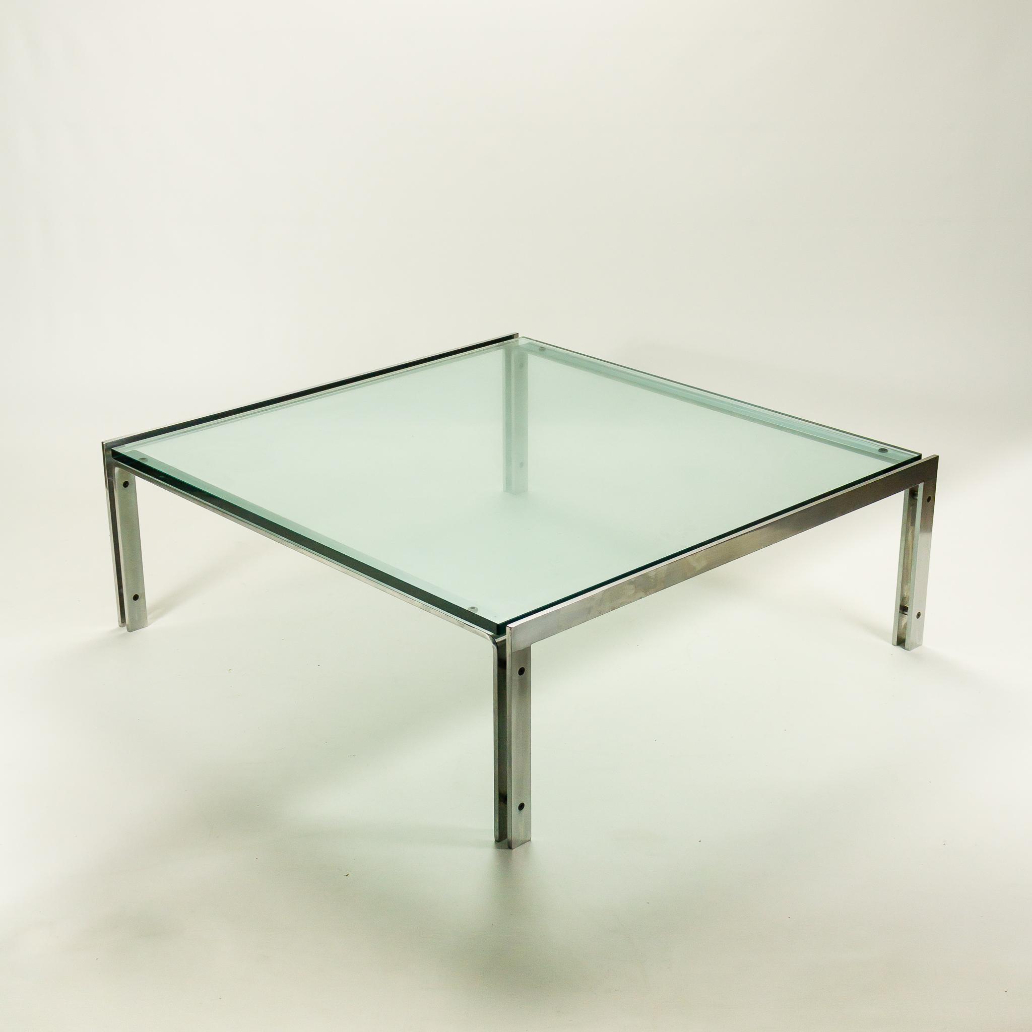 70 u2019s Metaform M1 salontafel helder glas RVS   BarbMama