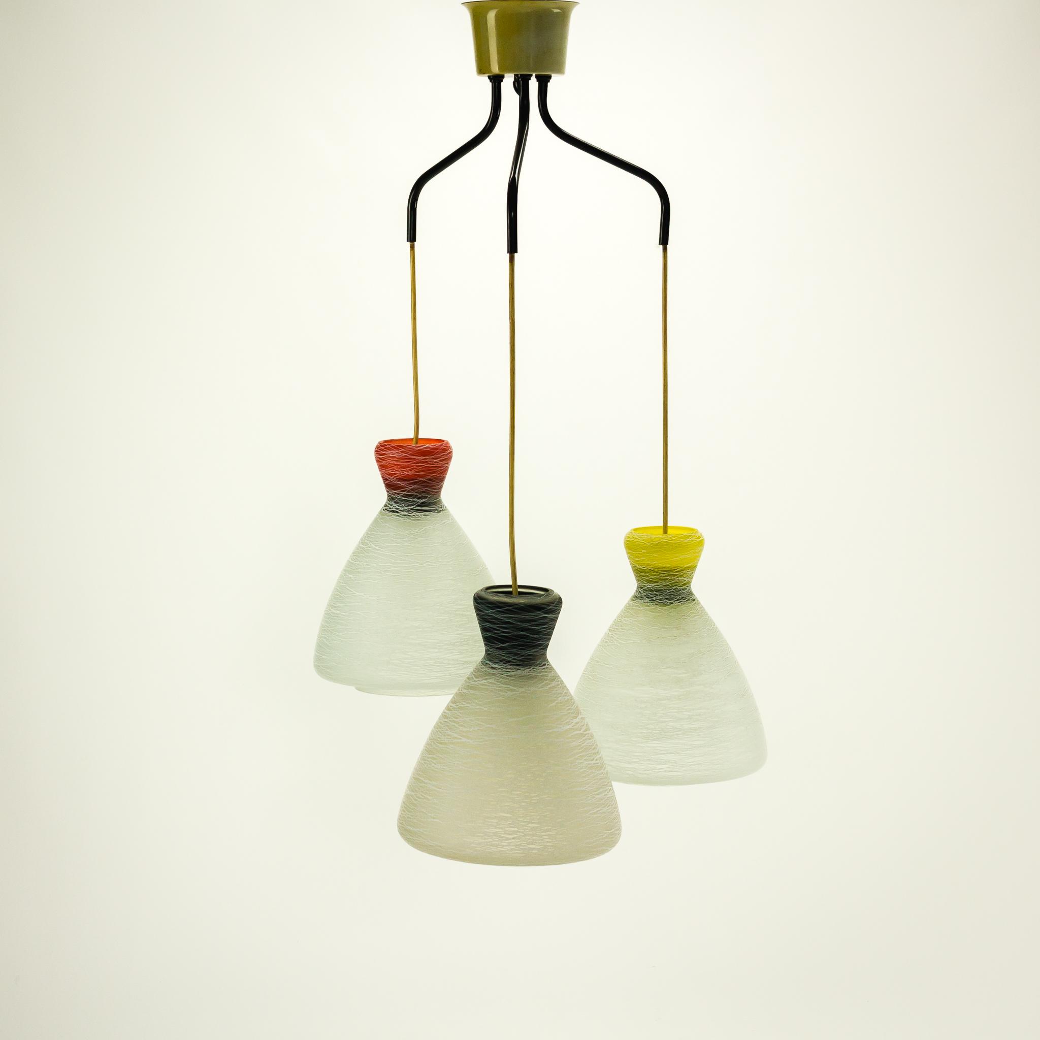 MG_1763 41060300L 60u0026#39;s hanglamp 3 kleuren kelp bewerkt glas Design ...
