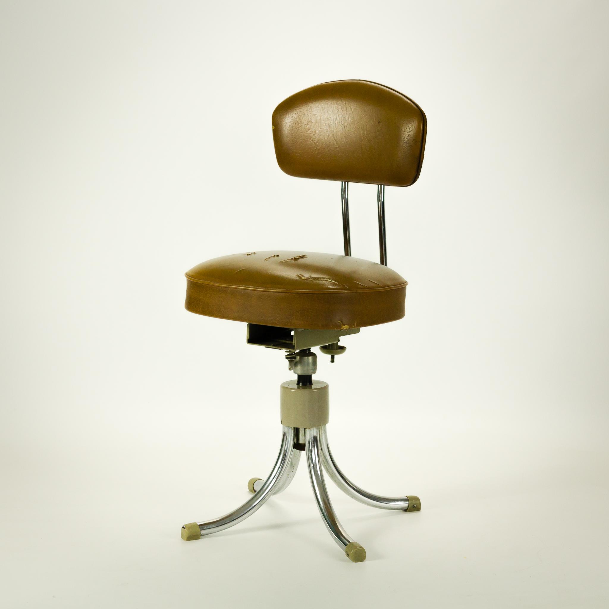 50 s gispen stijl bureaustoel mokka bruin skai barbmama for Bureau stoel