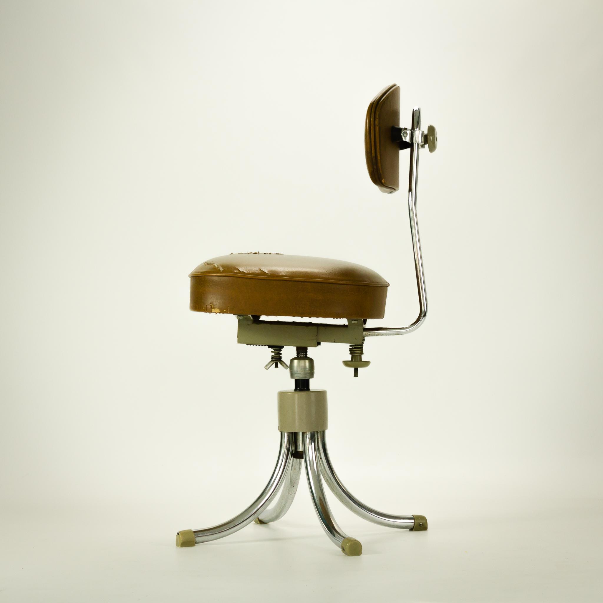 50 u2019s Gispen stijl bureaustoel mokka bruin skai   BarbMama