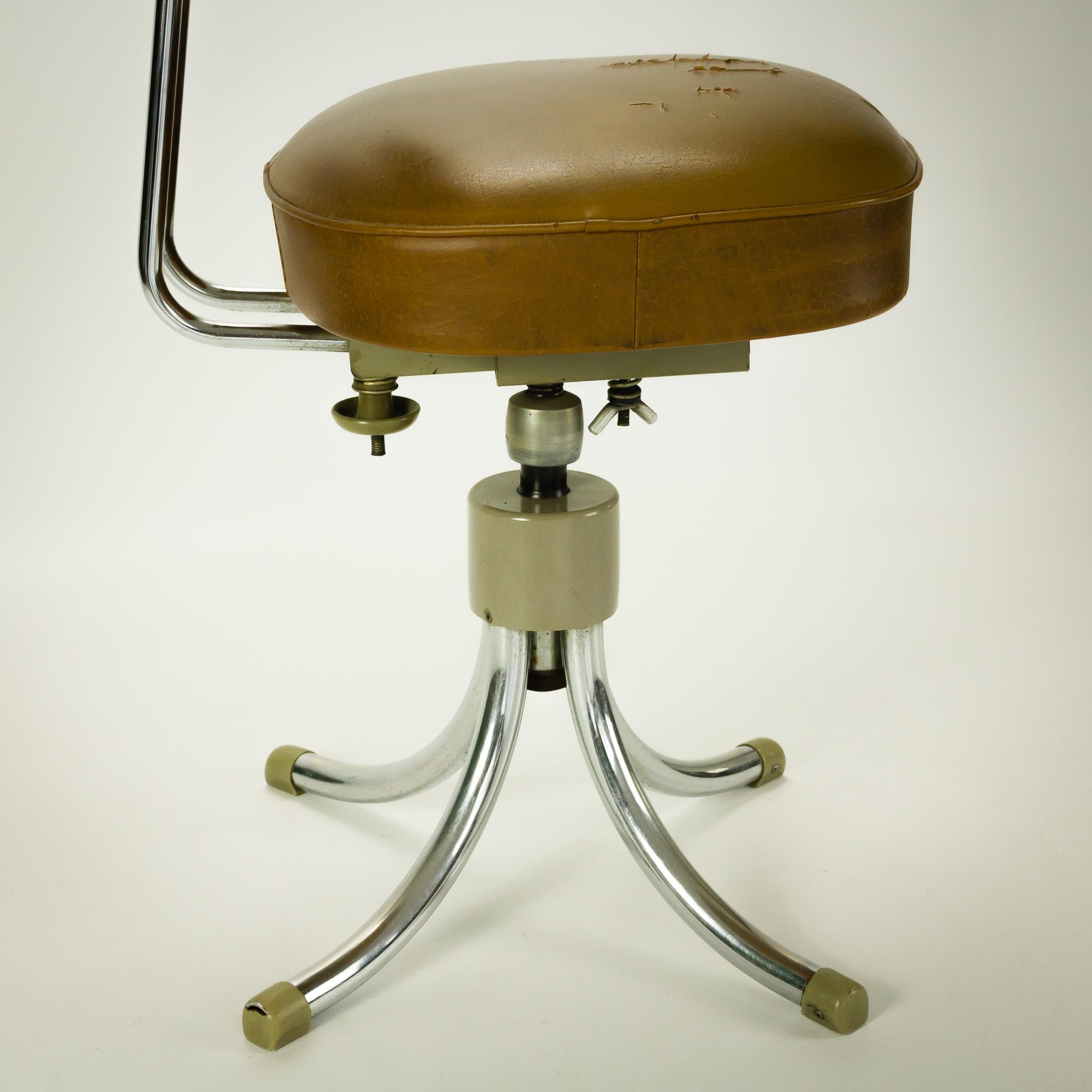 50 s gispen stijl bureaustoel mokka bruin skai barbmama for Bureaustoel vintage