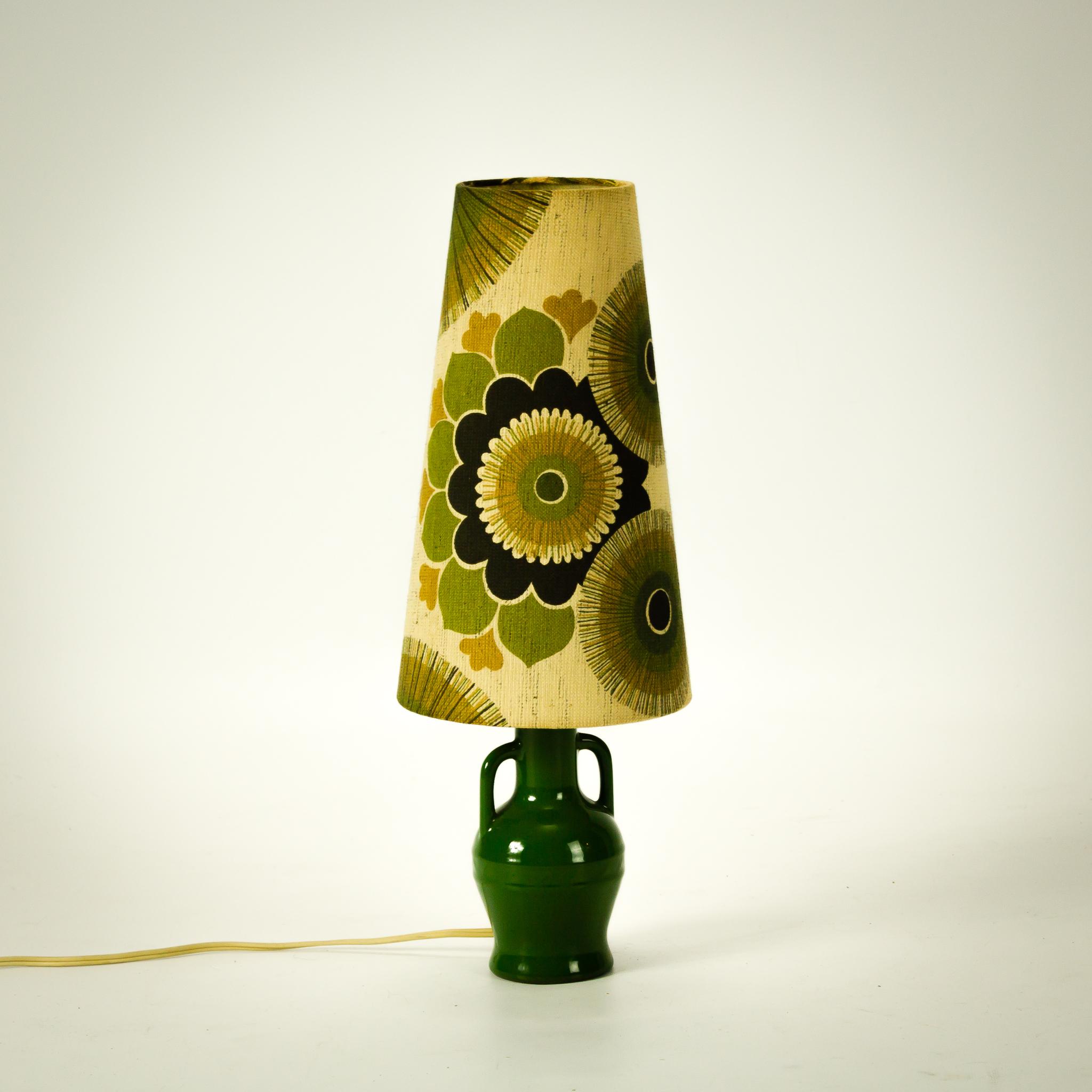 Jaren 70 Retro Groene Tafellamp Keramiek Voet Set2 BarbMama