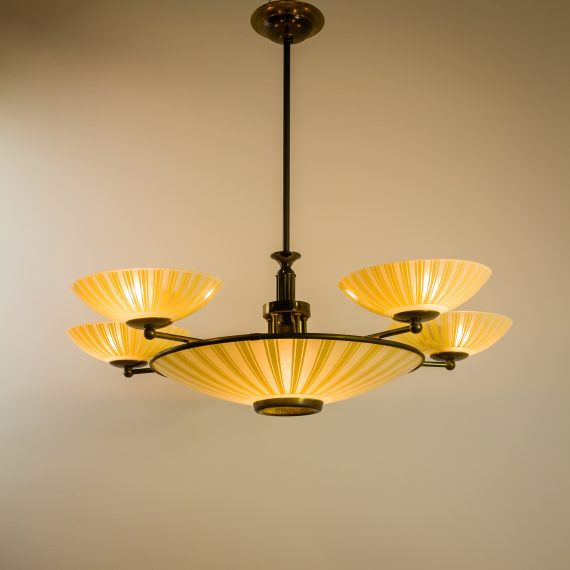 Art deco gang lamp hanglamp koper glas barbmama - Deco donker gang ...