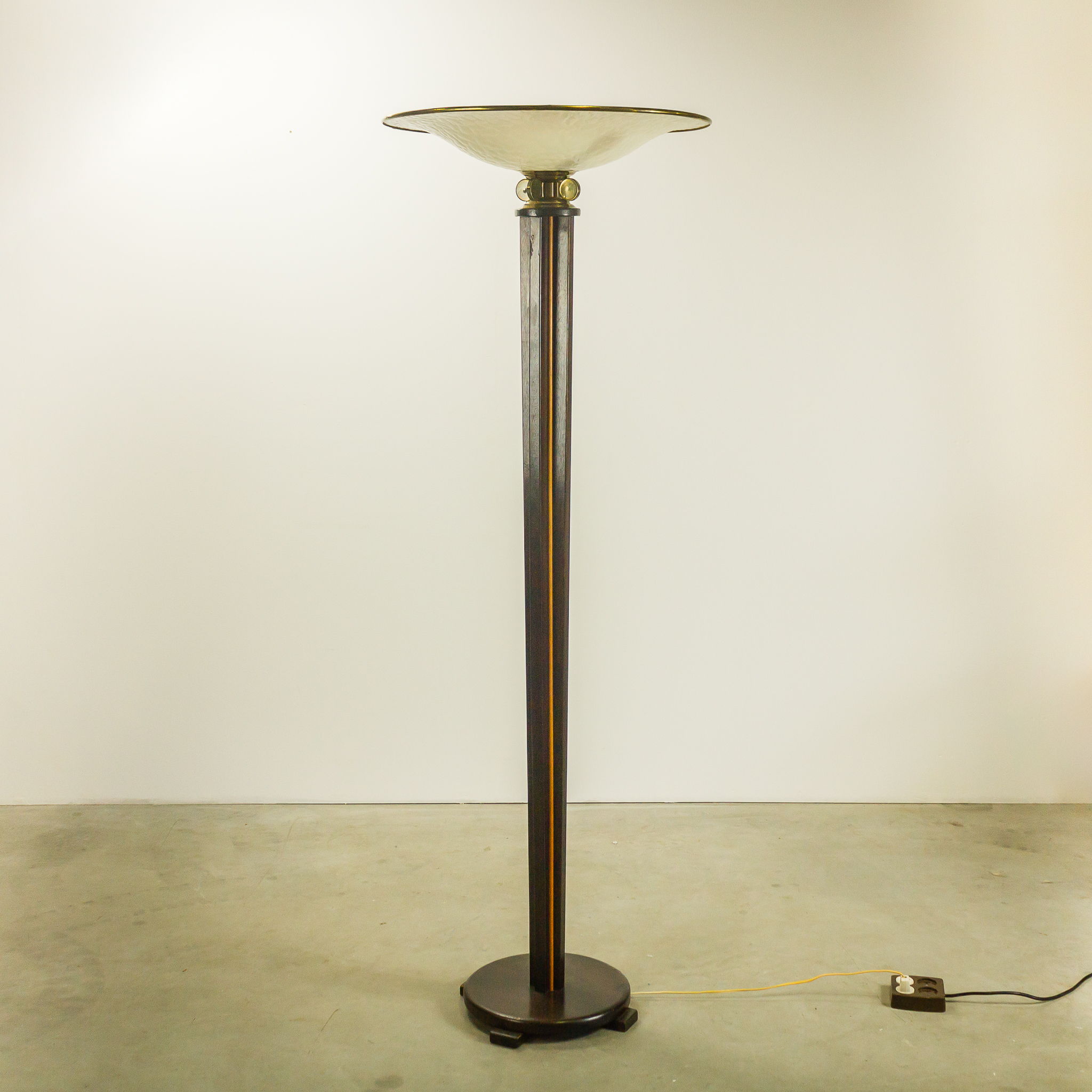 30 s art deco vloerlamp two tone hout glas barbmama - Deco lounge hout ...
