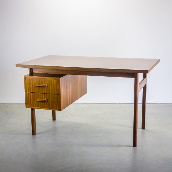 70 s eeka teak bureau buro met 2 laden barbmama for Buro design bonn