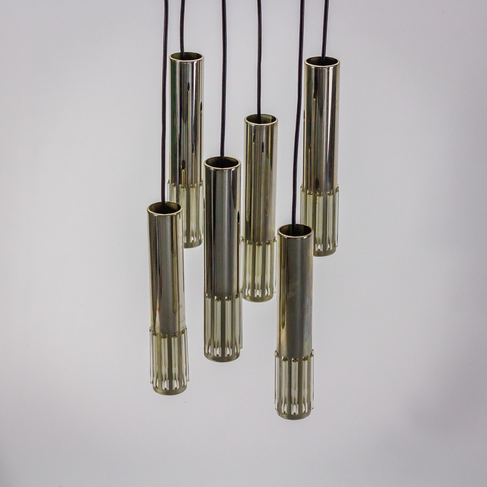 ... Raak hanglamp met 6 hangers chroom glas Design Vintage Retro Barbmama