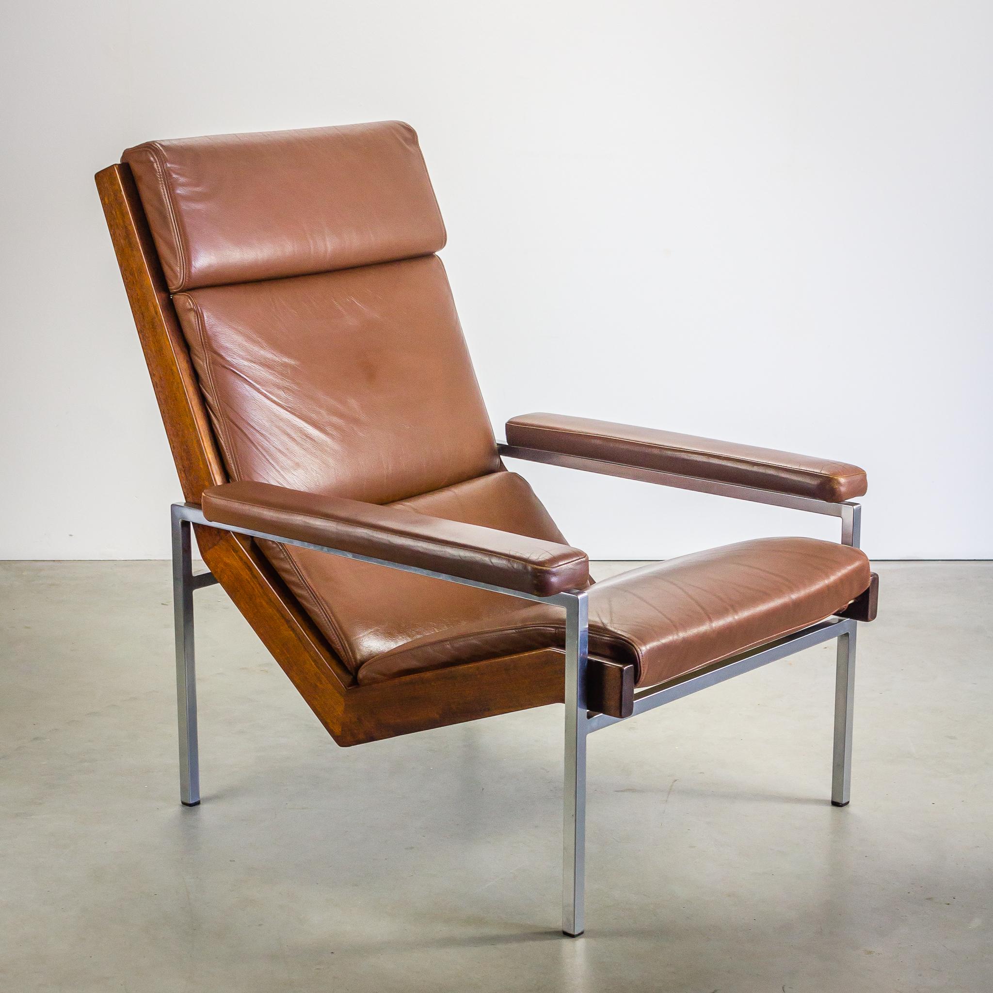 50 s rob parry fauteuil lotus bruin leder barbmama for Fauteuil retro design
