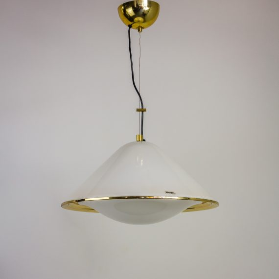 70s iGuzzini hanglamp spage age wit messing barbmama
