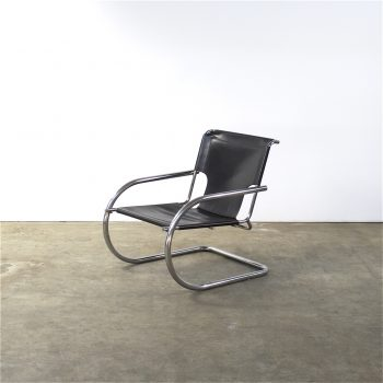arrben-fauteuil-leather-chrome-easy chair-italy