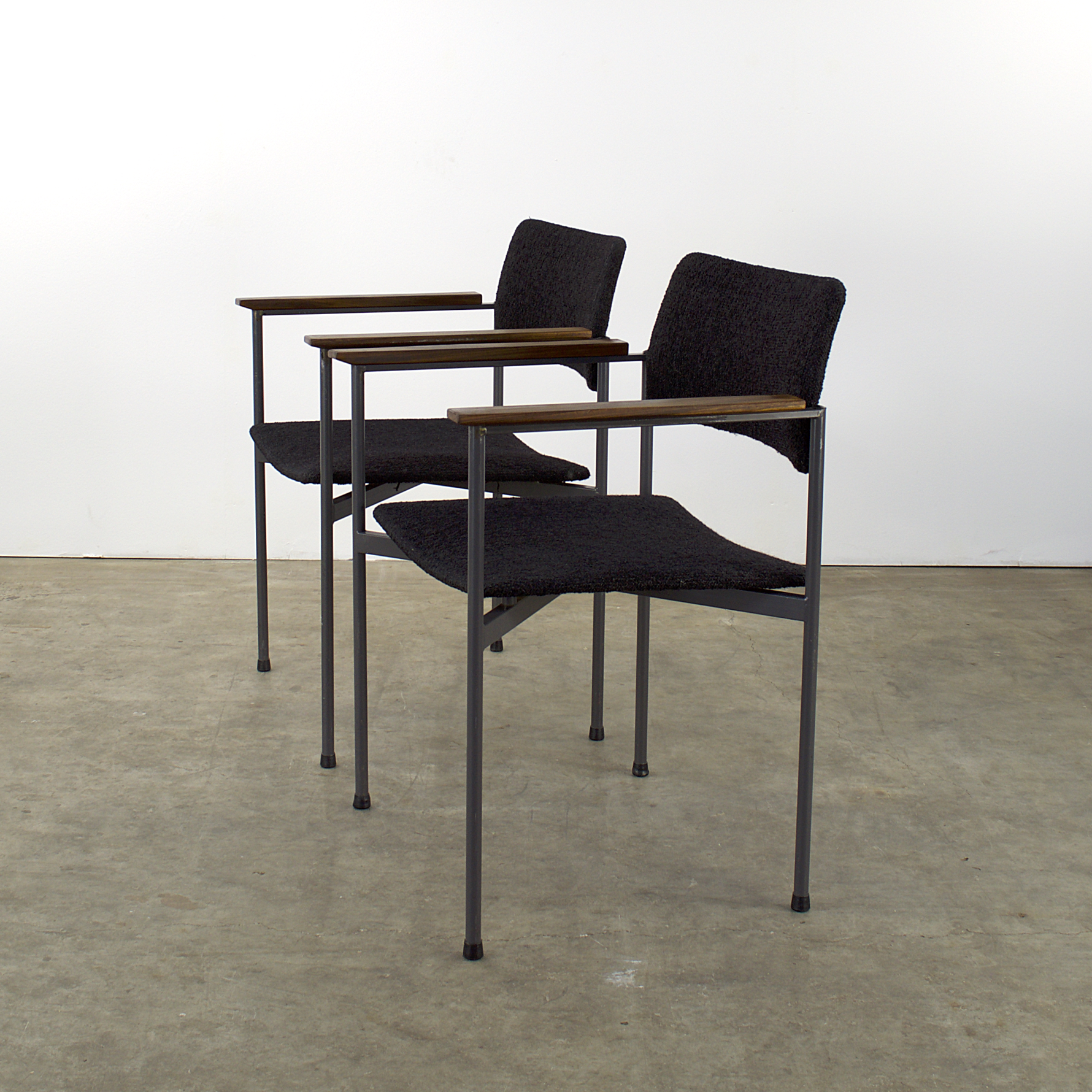 60 s metal frame office dining chairs set 2 barbmama for Dining chairs metal frame