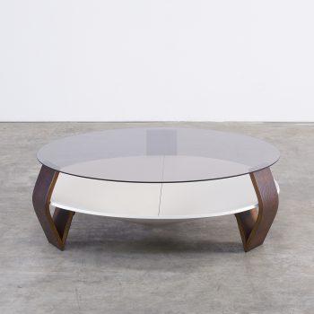80s design round coffee table smoked glass