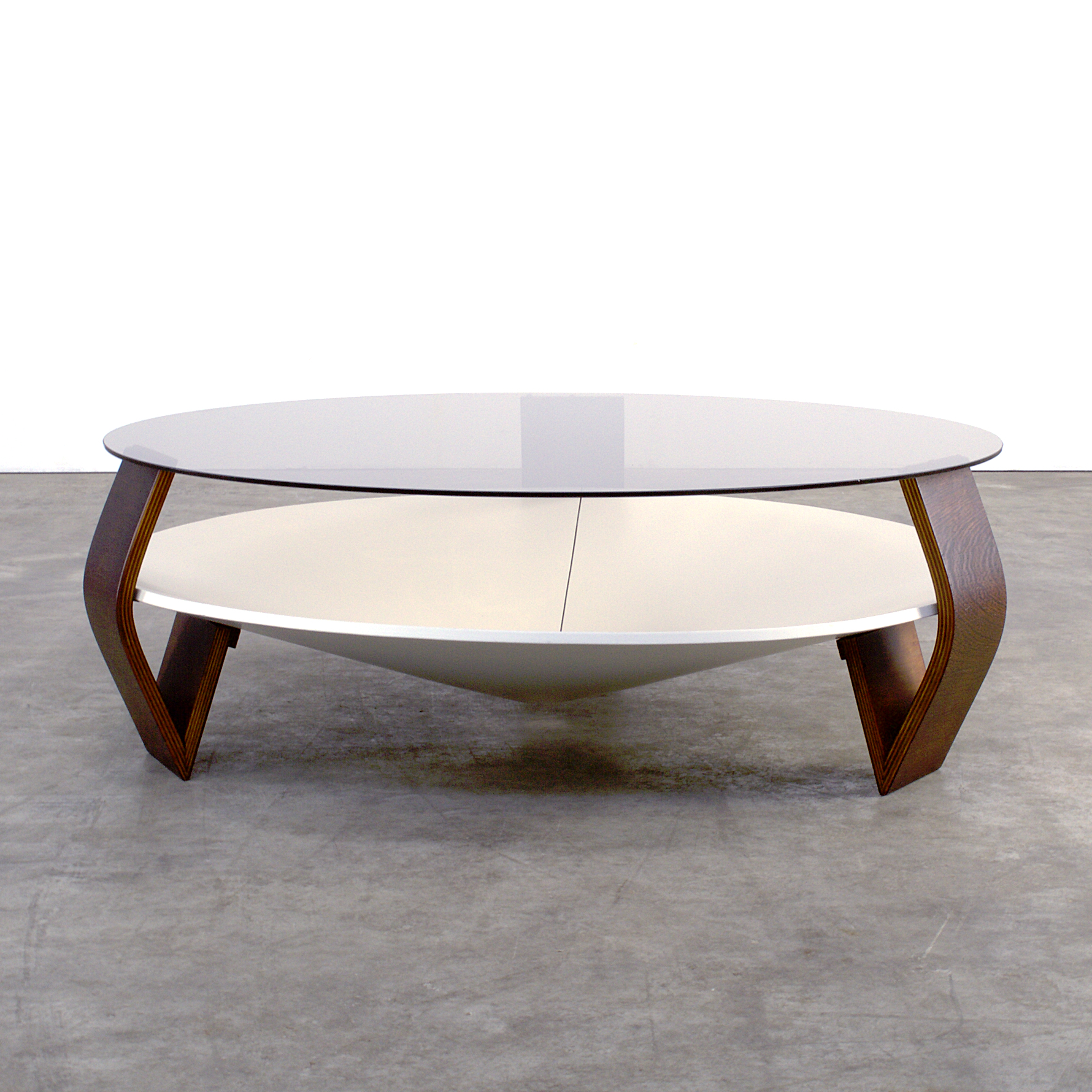 80s design round coffee table smoked glass barbmama - Round klapstoel ...