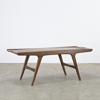 60s teak coffee table turnable worktop attr johannes andersen