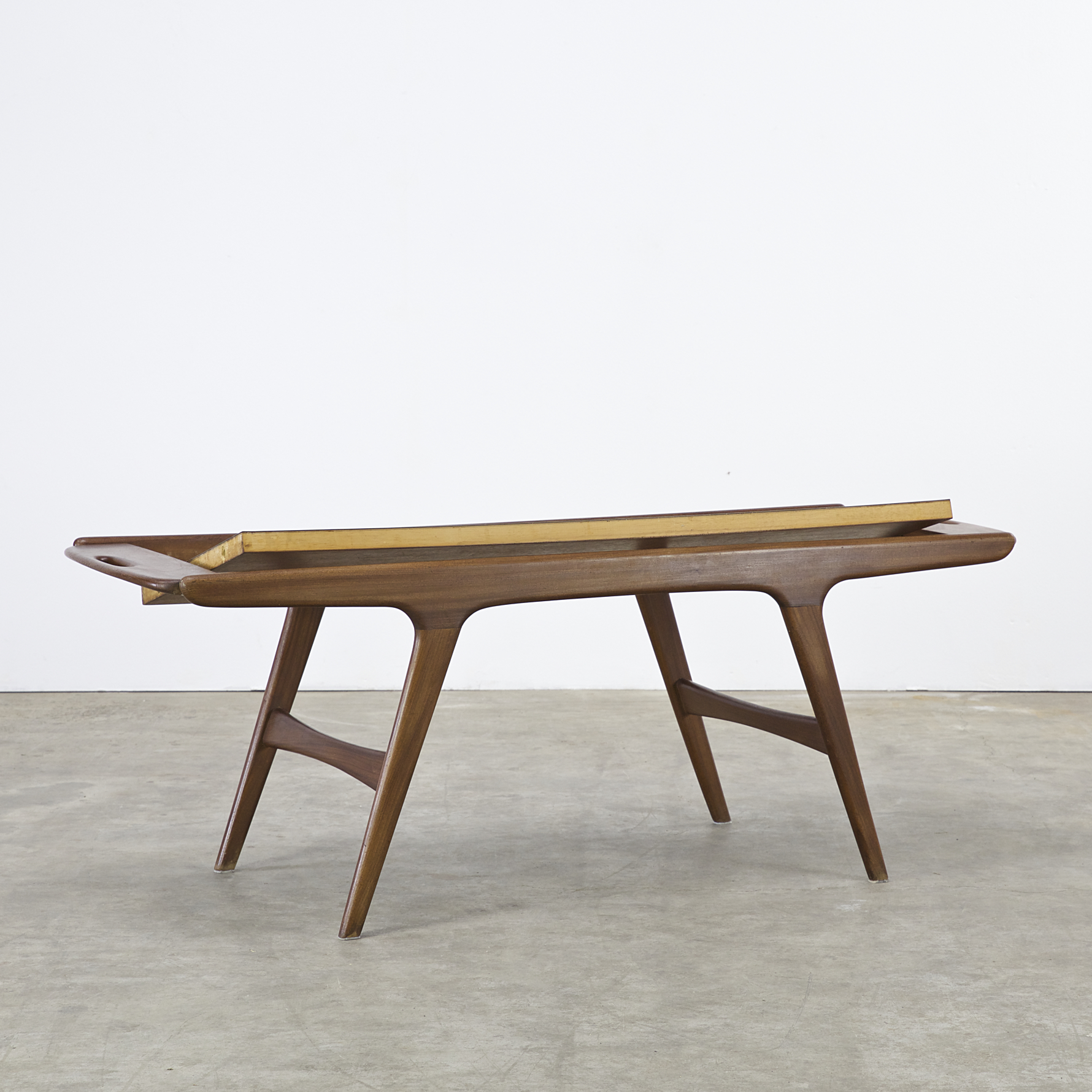 60s teak coffee table turnable worktop attr johannes for Teak coffee table