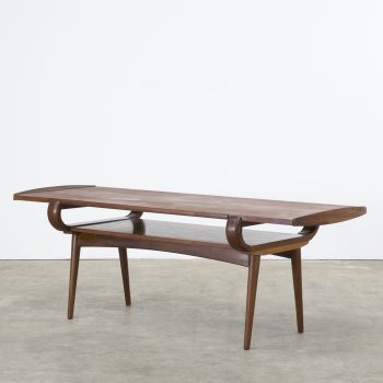 60s design teak coffee table turnable table top