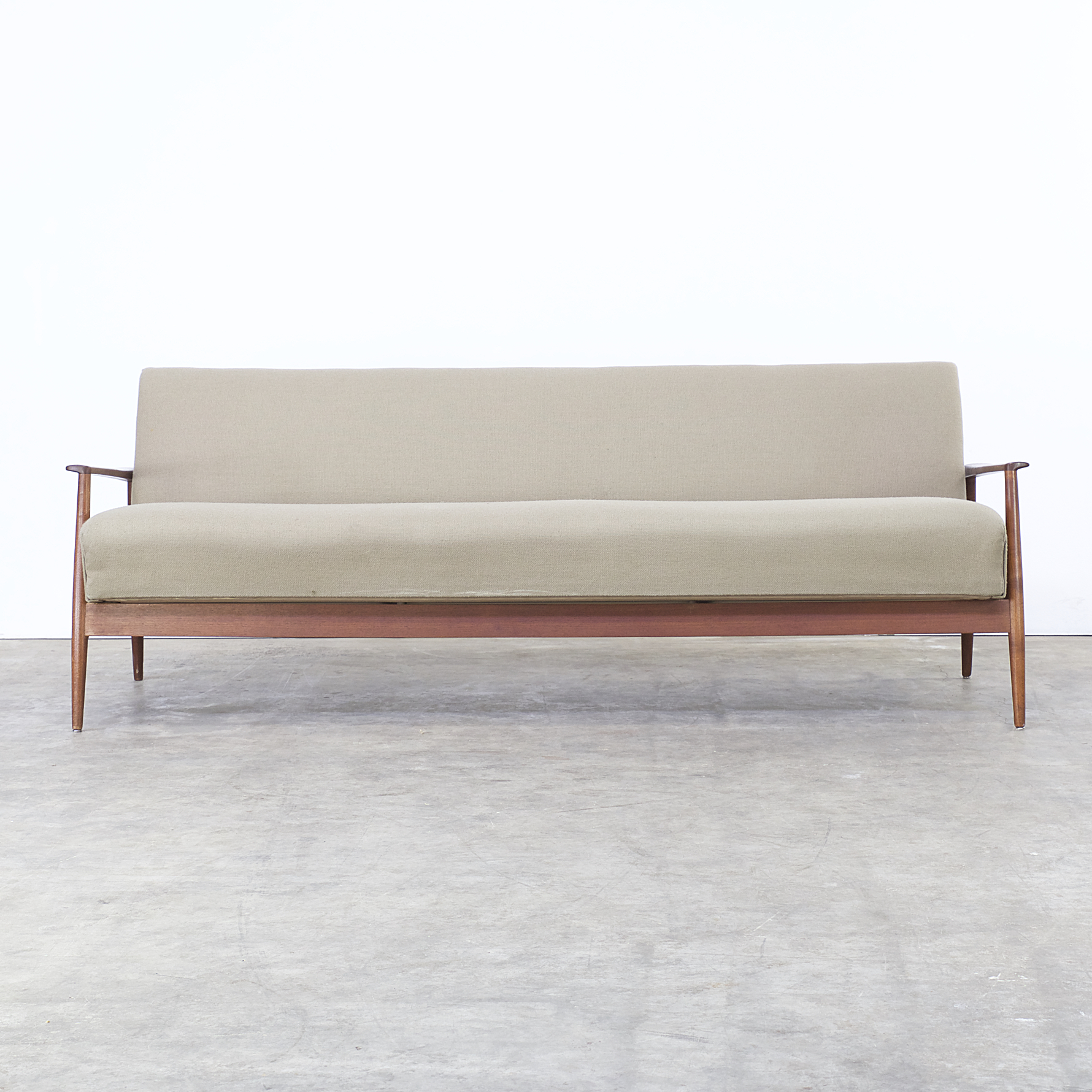 60s Teak And Fabric Sofa Daybed Attr Wilhelm Renz Barbmama