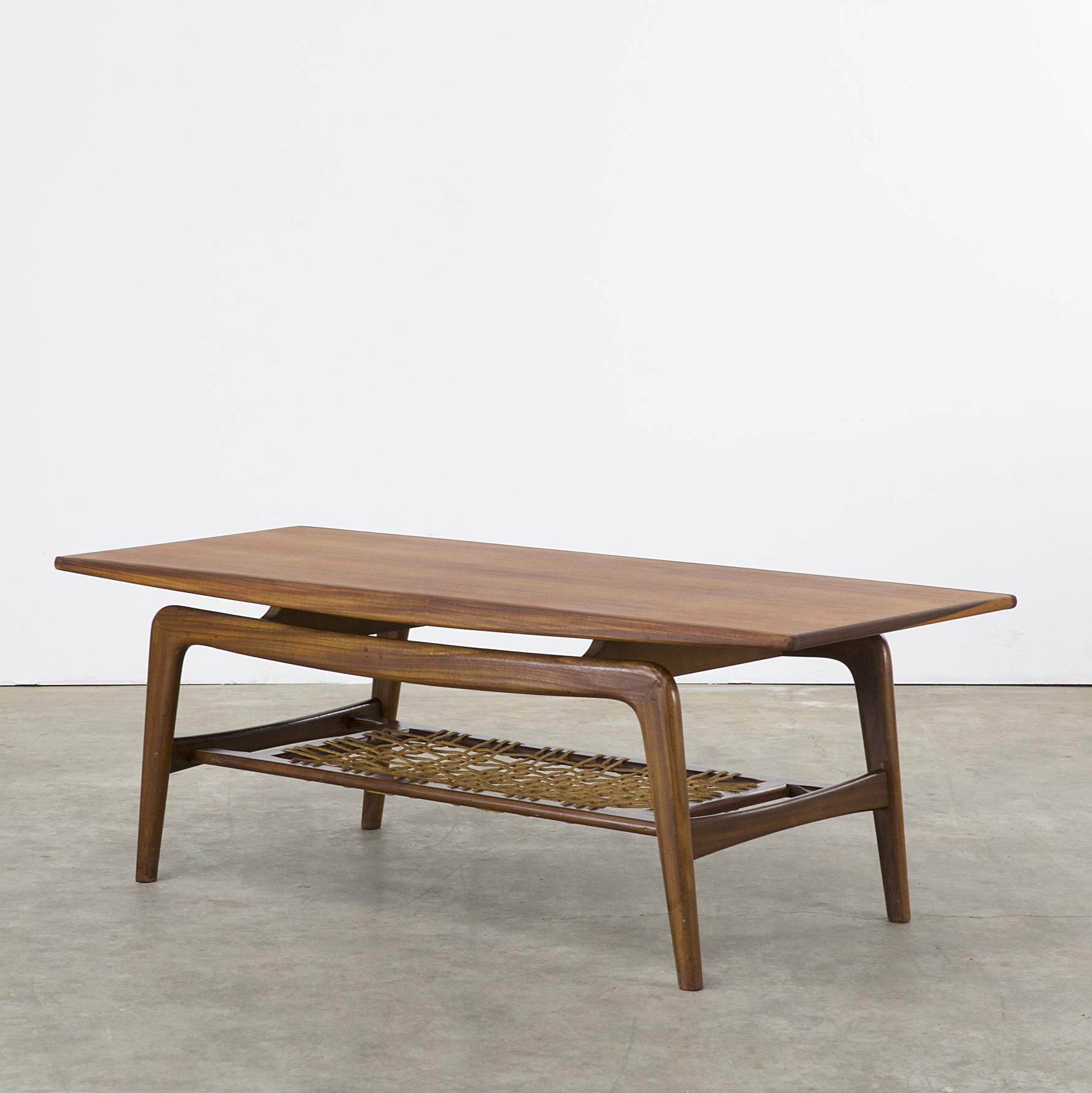 50s Teak Coffee Table Boomerang Legs Attr W B Barbmama