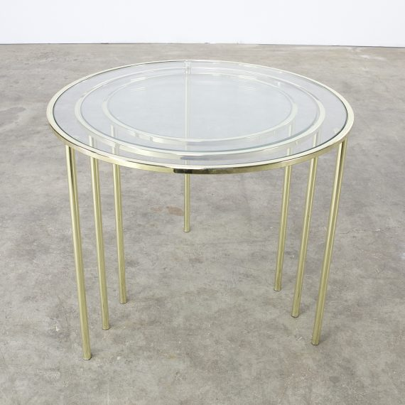 60 Mid Century Modern Vintage Half Moon Coffee Table: Midcentury Glass And Brass Round Nesting Tables