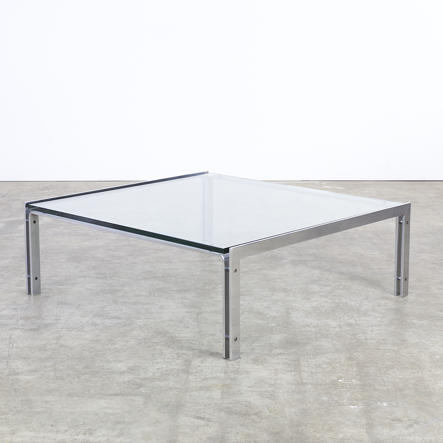 70s glass and chrome M1 coffee table for Metaform