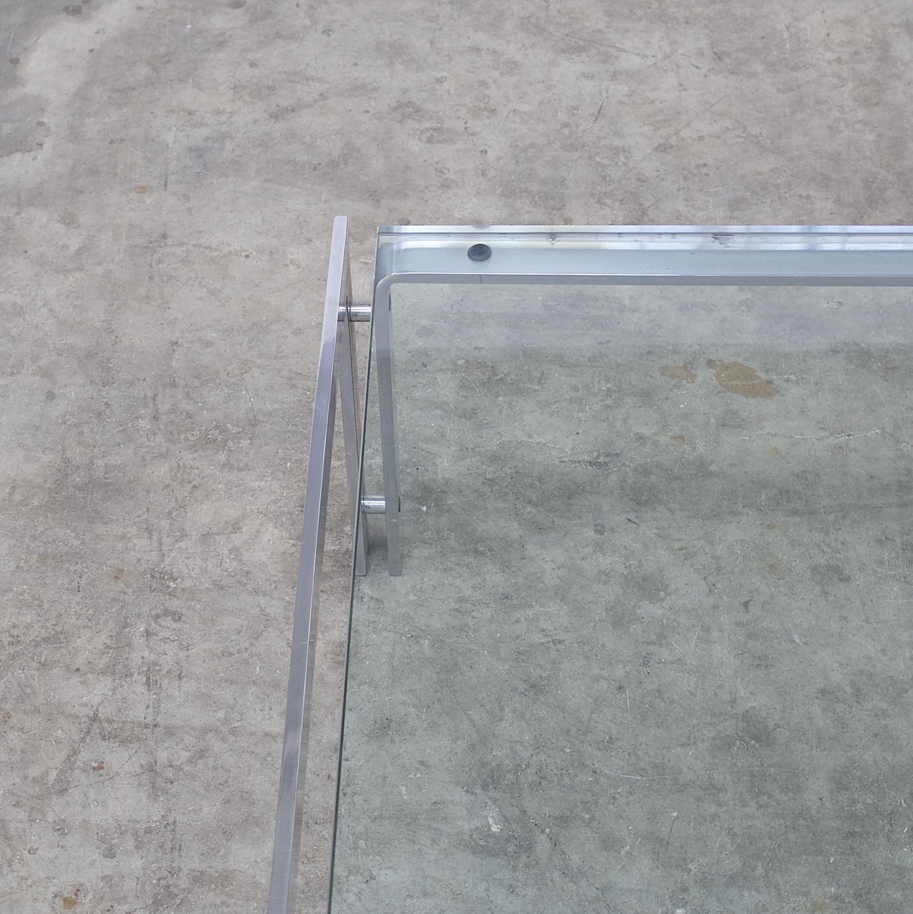 70s Glass And Chrome 'M1' Coffee Table For Metaform