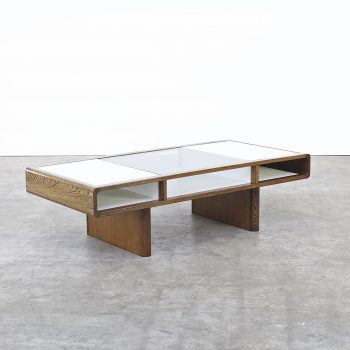 70s space age coffee table in wenge white formica glass