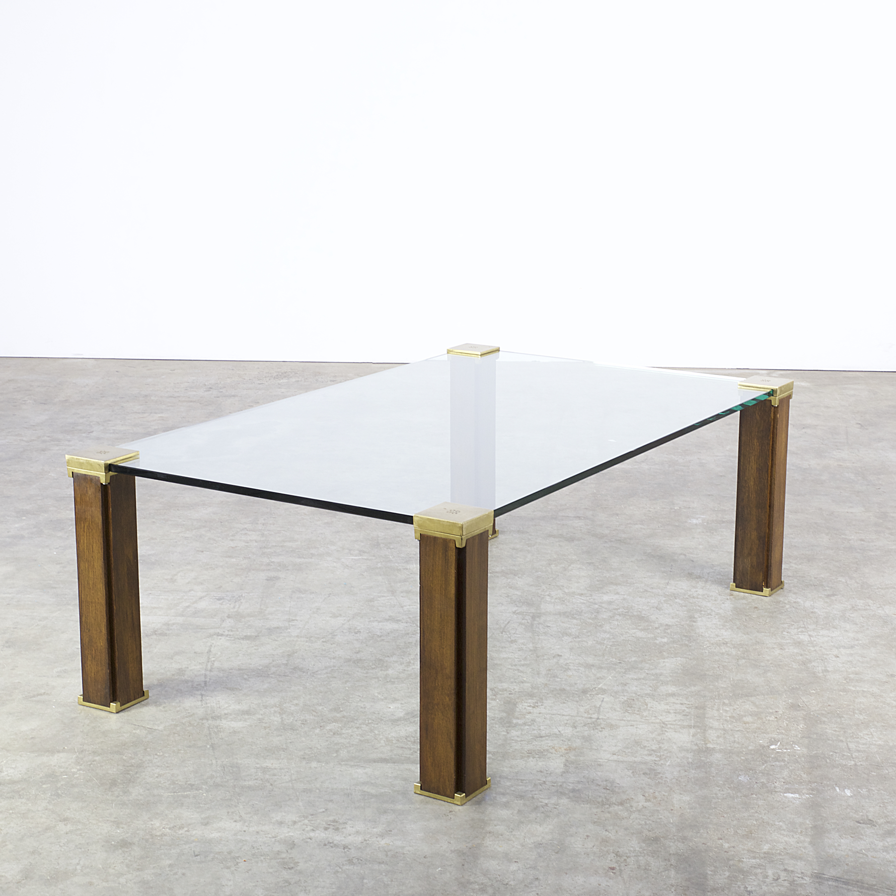 70s Peter Ghyczy T66 Coffee Table Glass, Brass, Teak