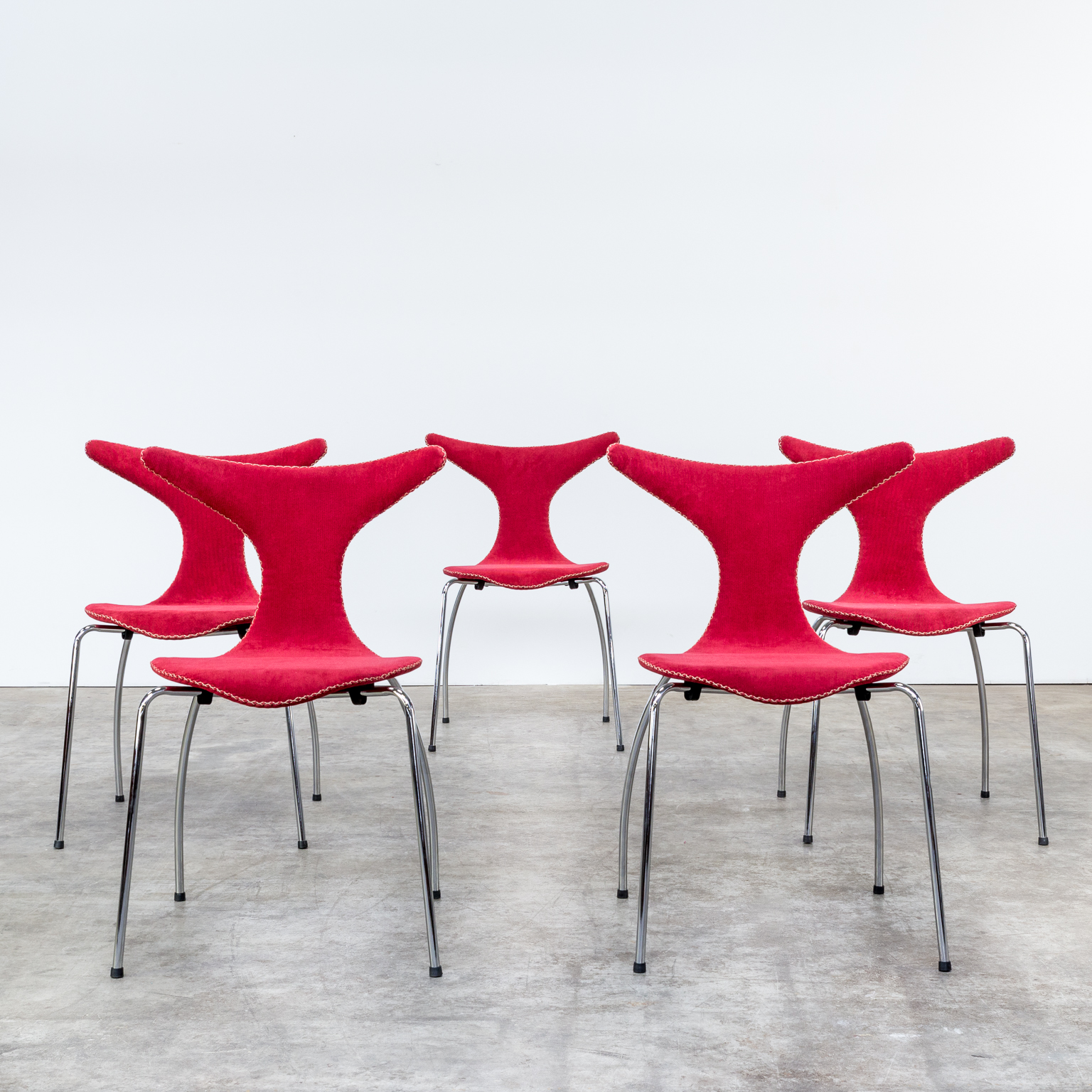 Bjarke Nielsen dolphin chairs stiched fabric for Dan Form set 5