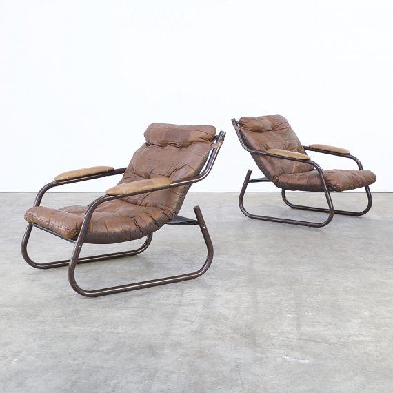 70s vintage cognac leather patchwork fauteuil set 2 barbmama - Fauteuil design patchwork ...