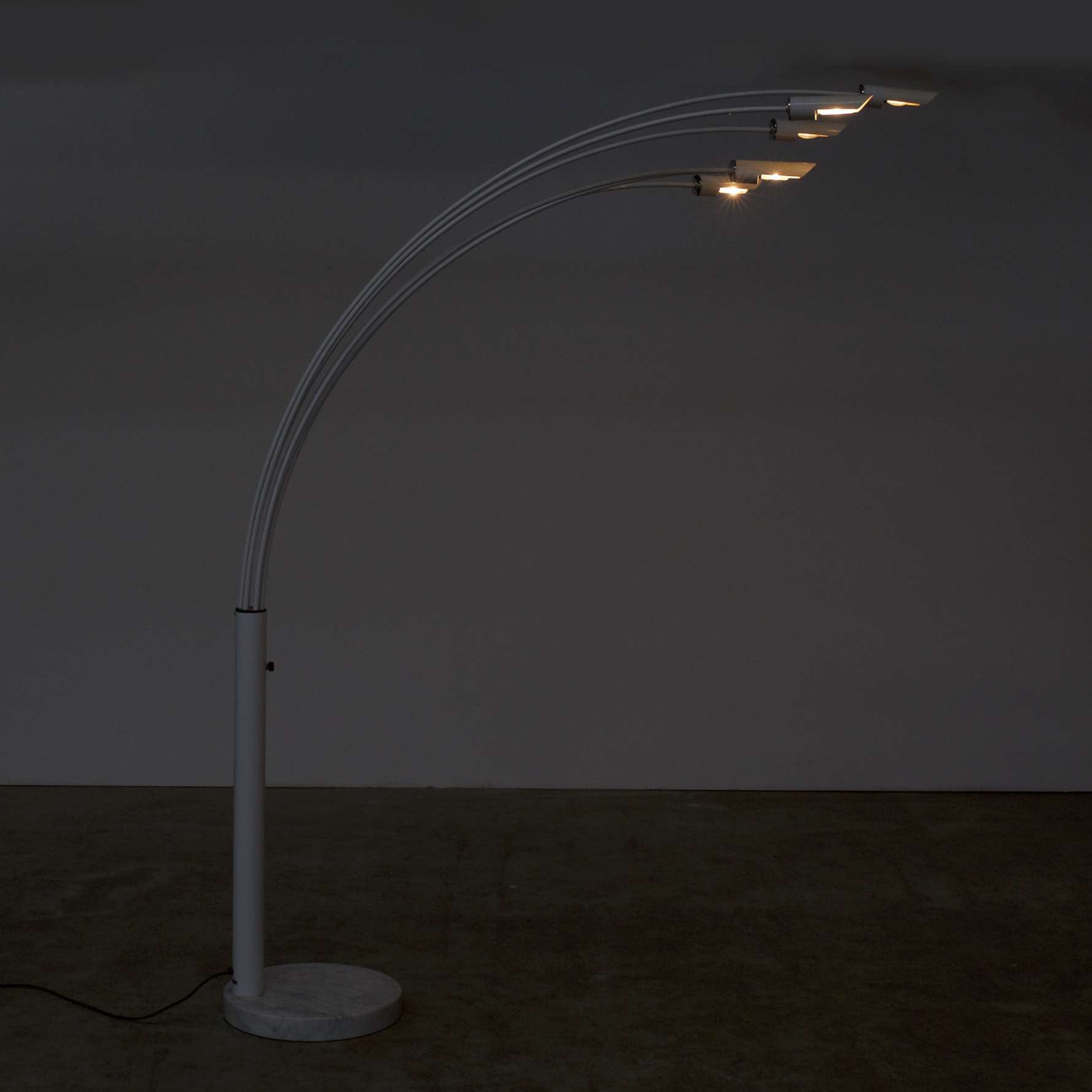 70s Italian Metal Chrome And Marble Arc Floorlamp In The