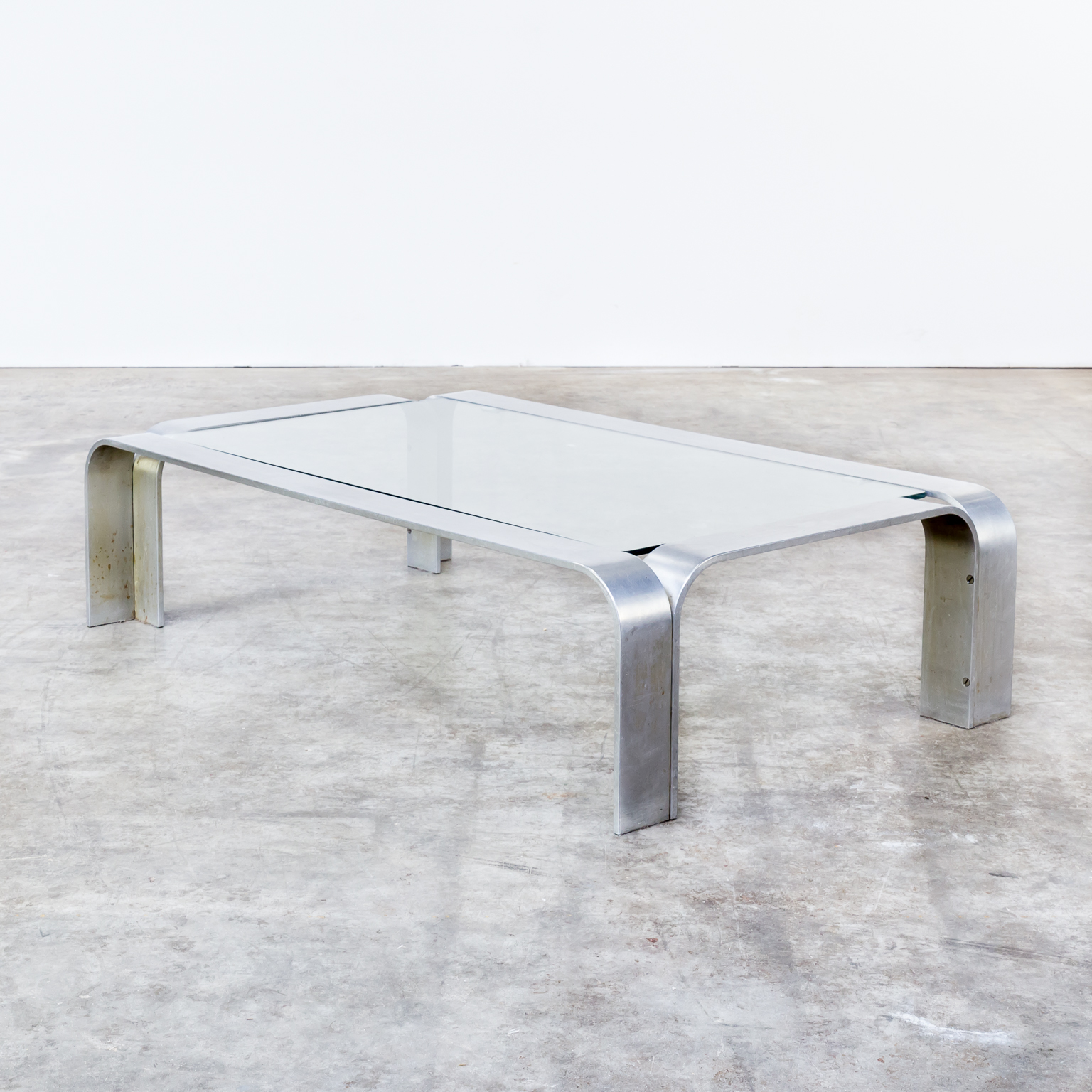 90s Coffee Table in Aluminium and Glass