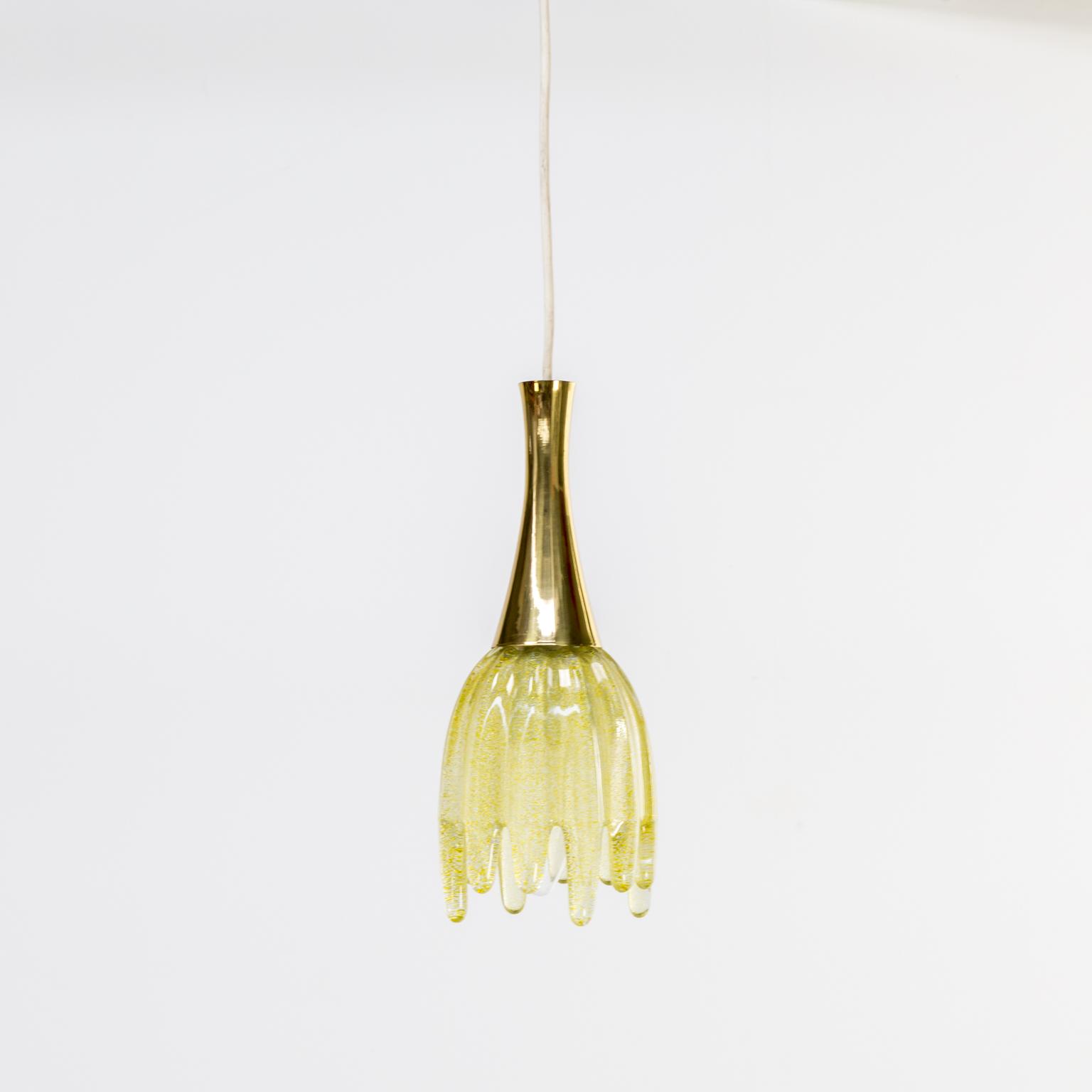 60s brass and murano glass hanging lamp
