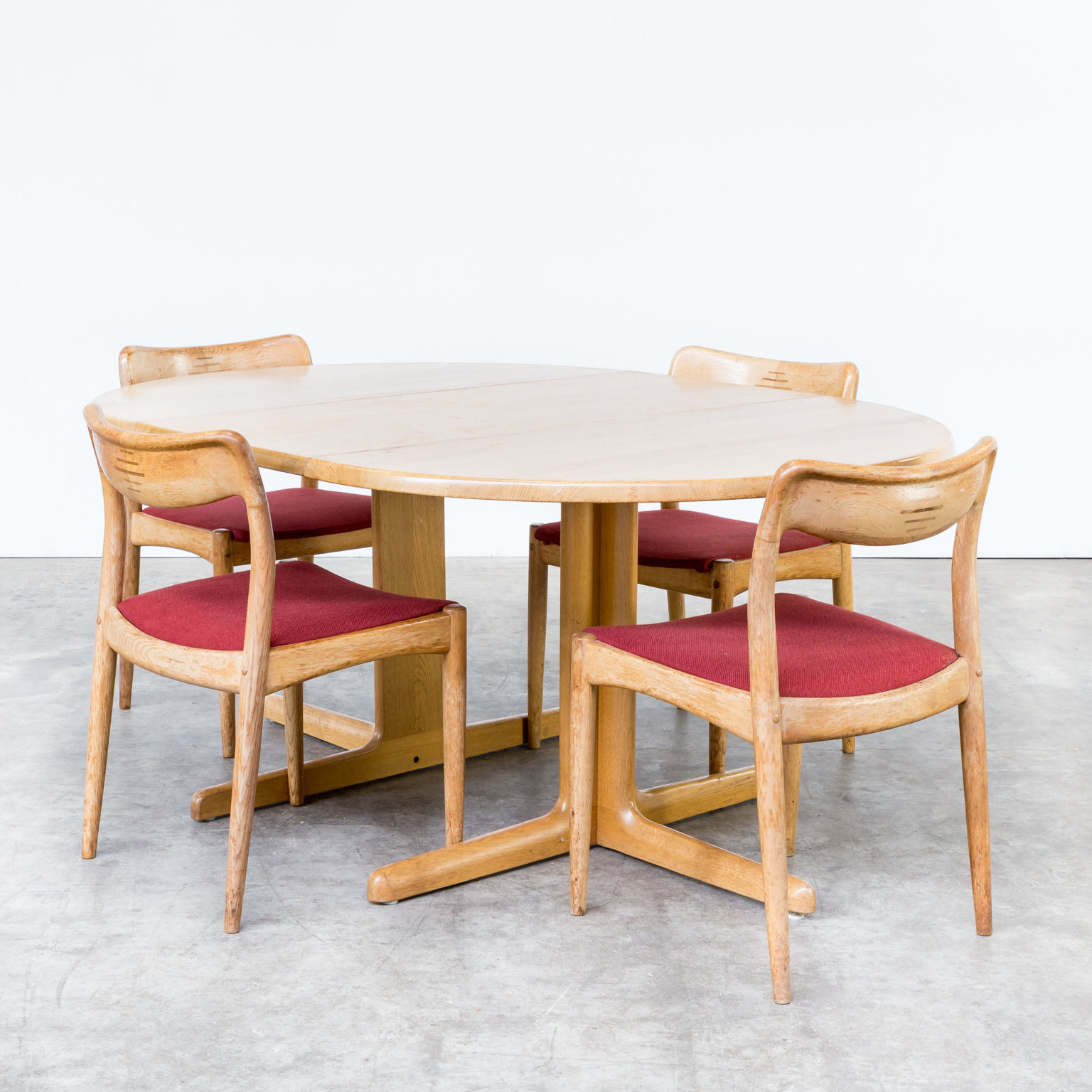 60s oak solid dining table extandable for niels bach as barbmama