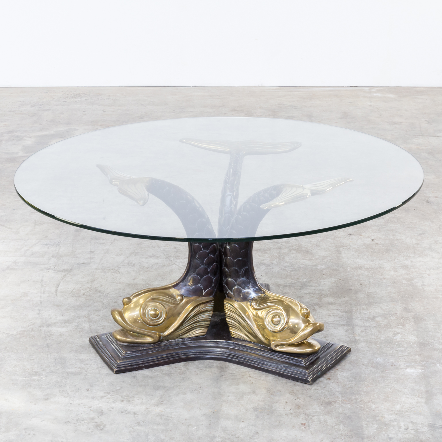 60s italian brass koi fish sculptural coffee table 105cm for 60s coffee table