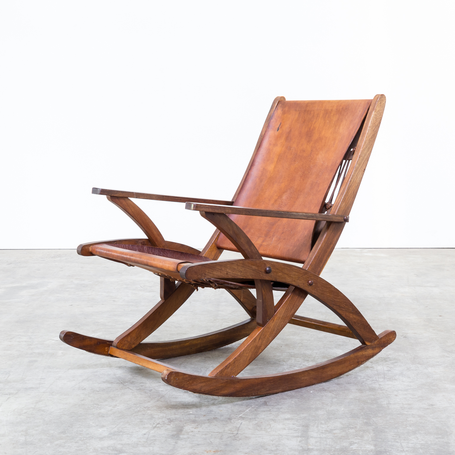 S oak and saddle leather rocking chair barbmama