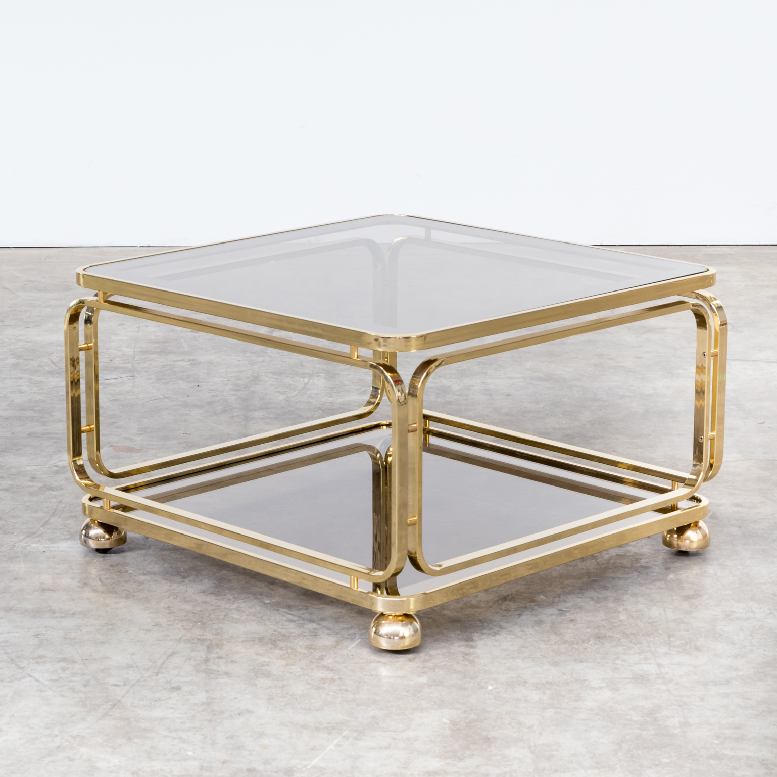 60s brass and glass coffee table side table for allegri for 60s table design