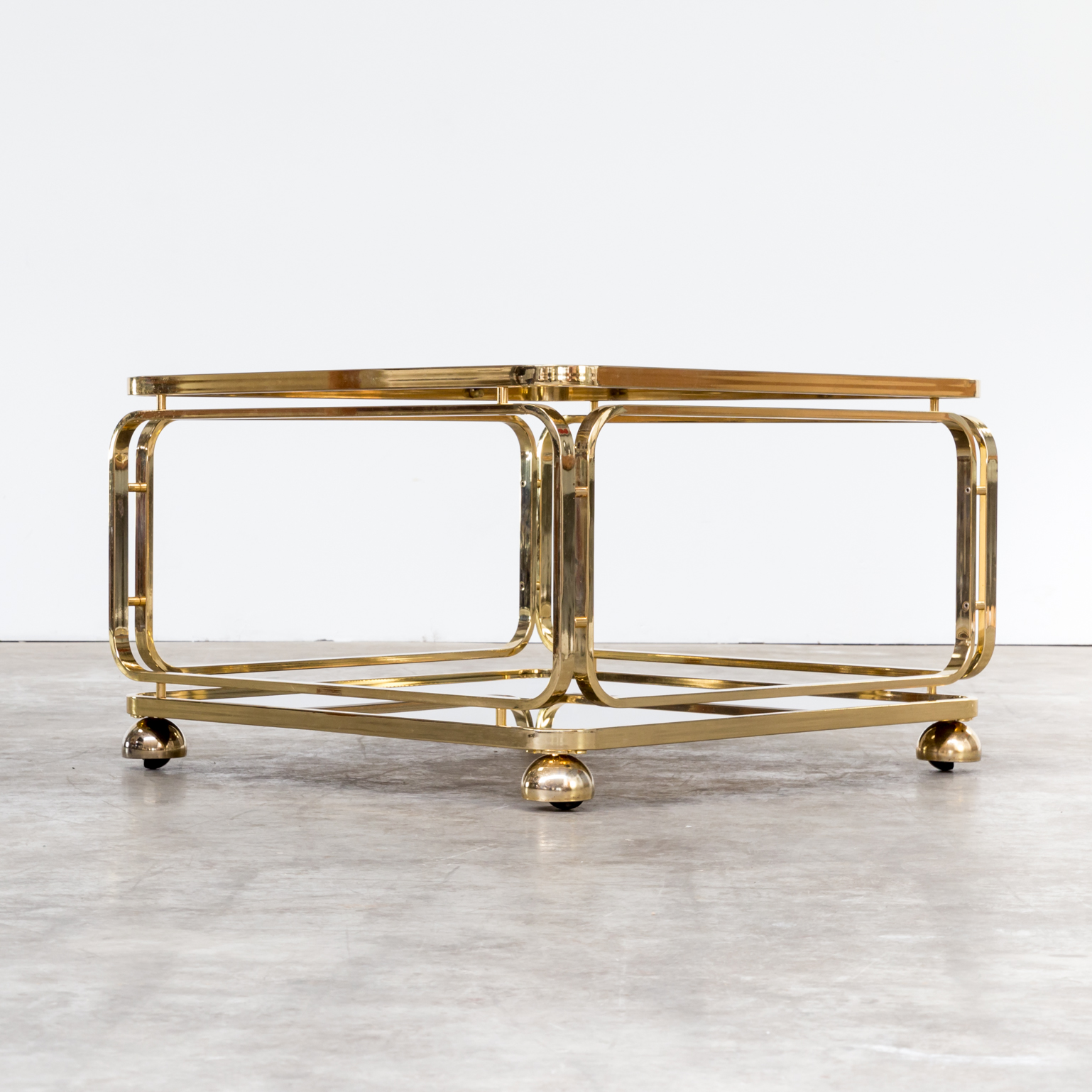 60s Brass And Glass Coffee Table Side Table For Allegri Barbmama