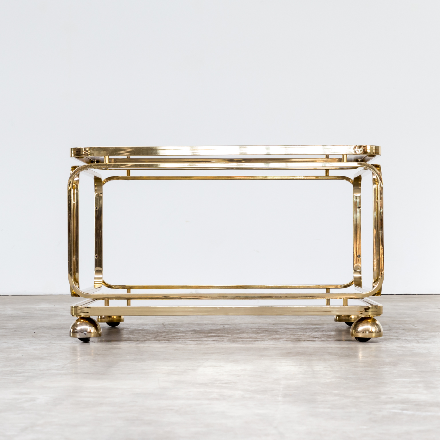 0421067TS Allegri Coffee Table Side Table Brass Glass Vintage
