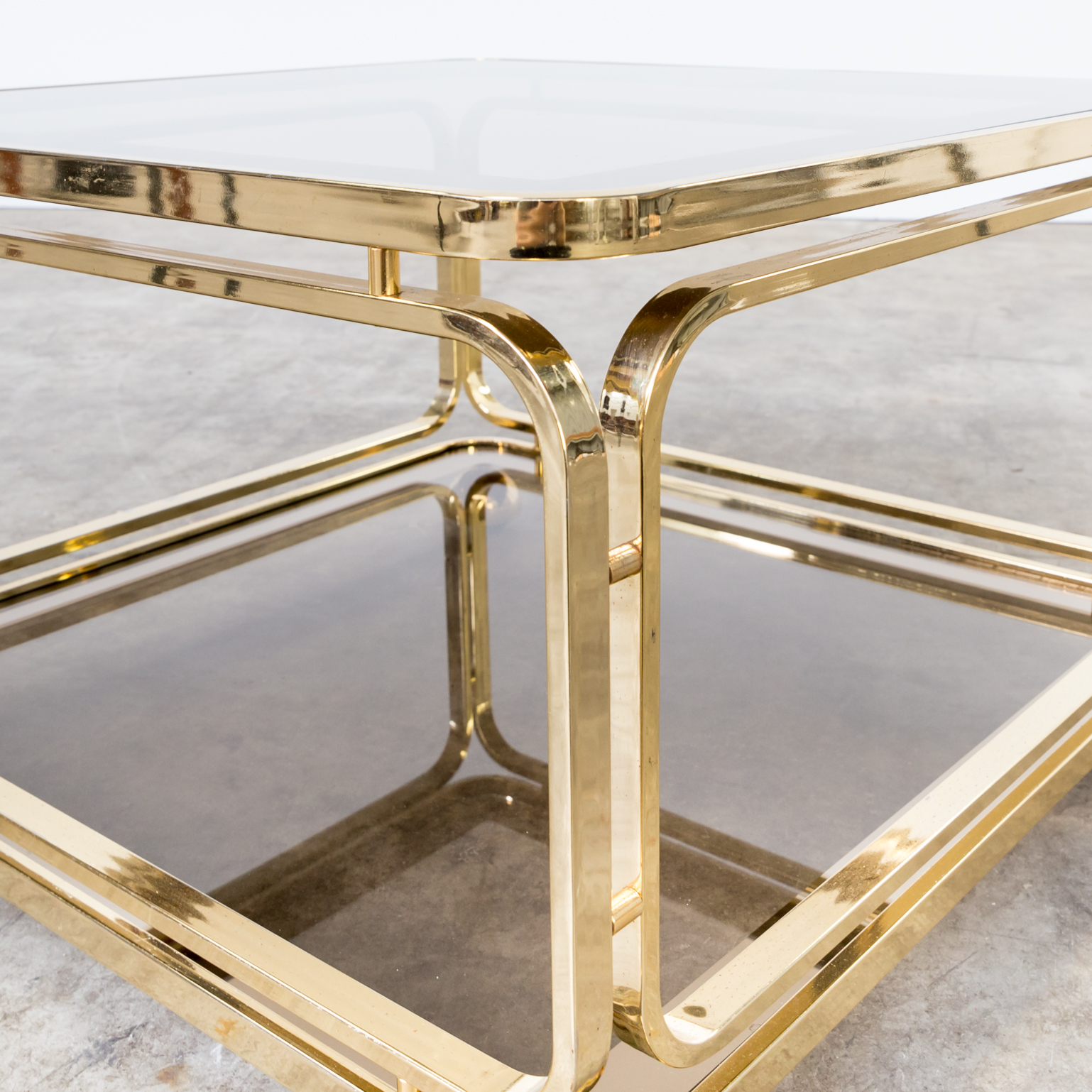 Small Brass And Glass Coffee Tables: 60s Brass And Glass Coffee Table, Side Table For Allegri