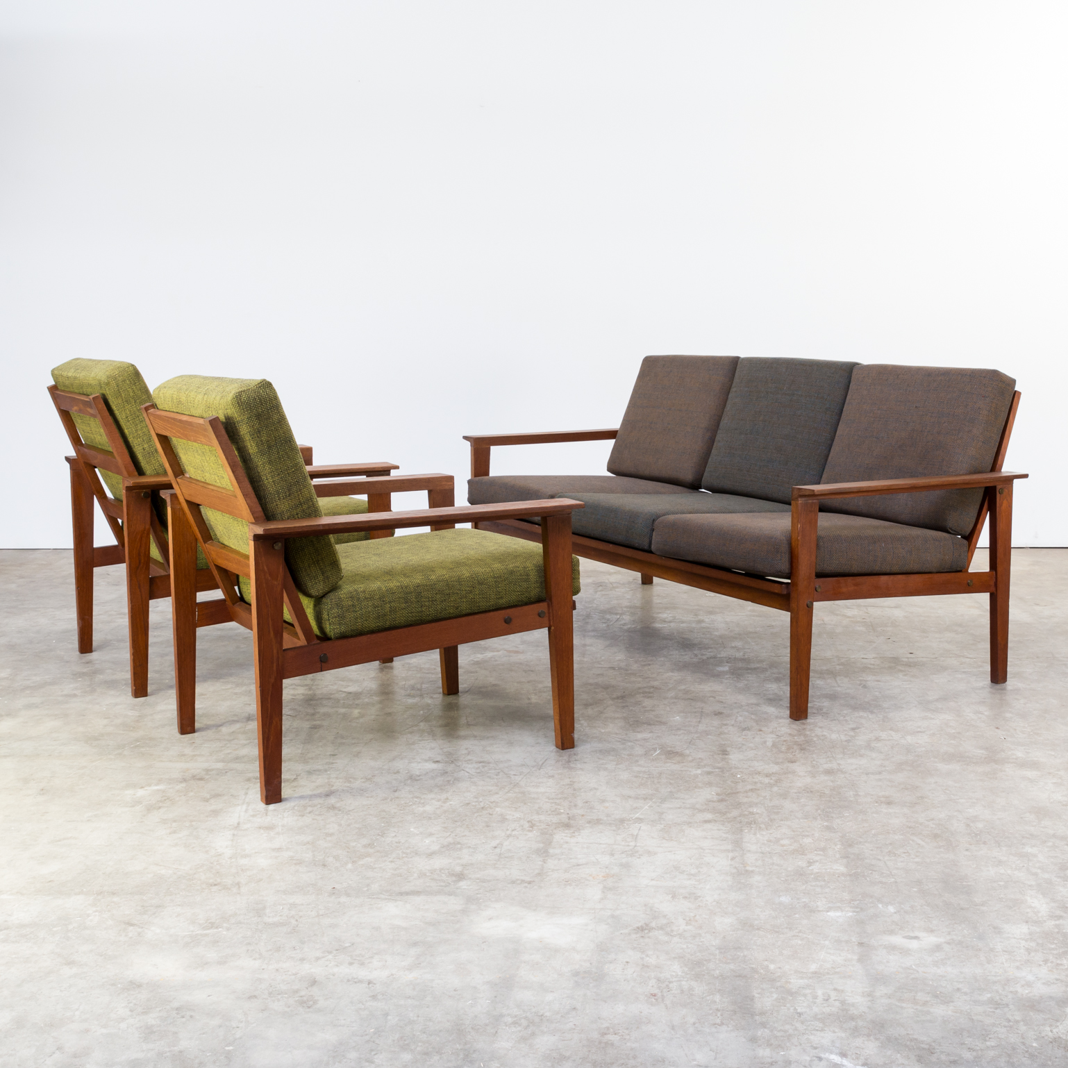 60s teak seating group 1 three seat sofa 2 fauteuils. Black Bedroom Furniture Sets. Home Design Ideas