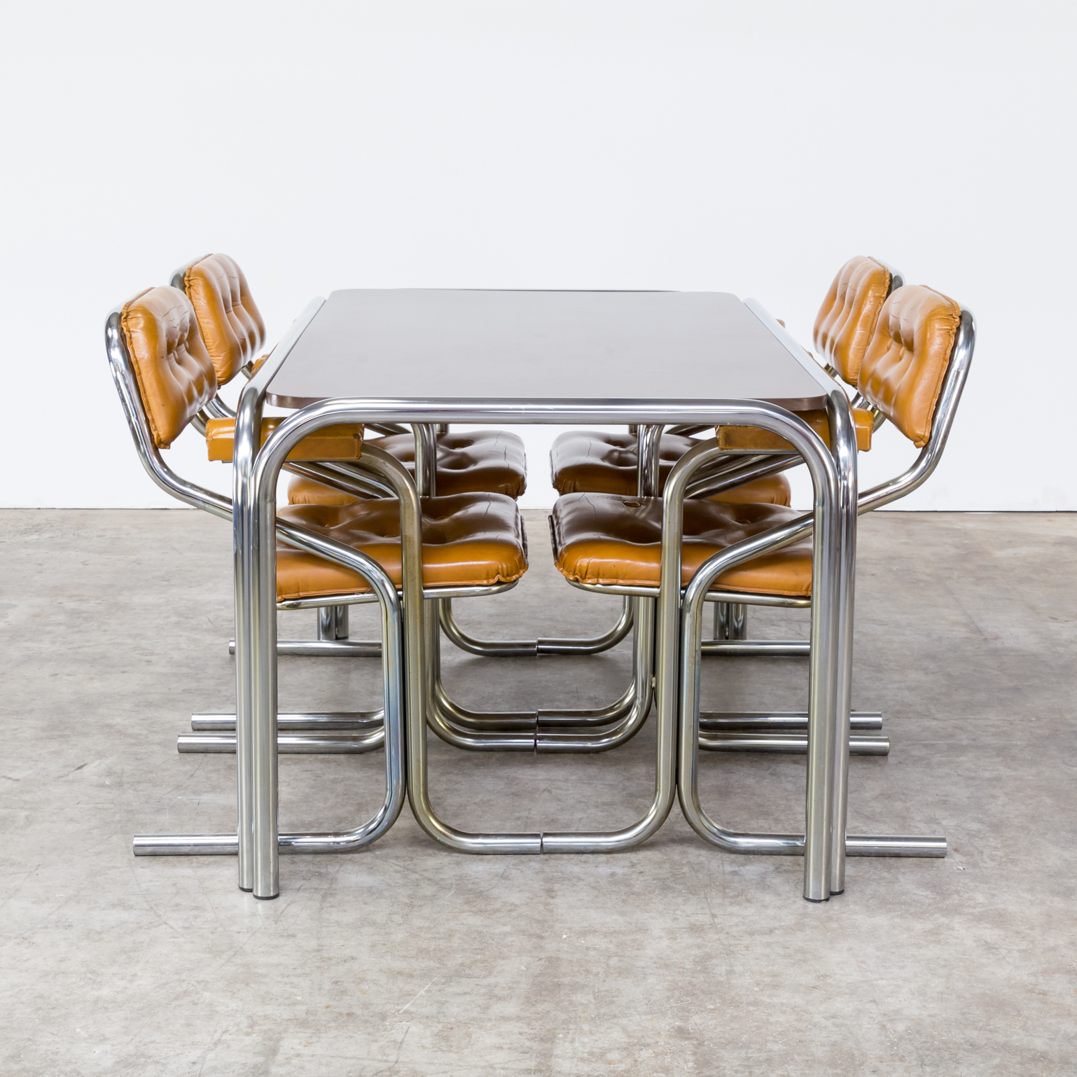TEst tube frame table dining room set chairs vintage retro