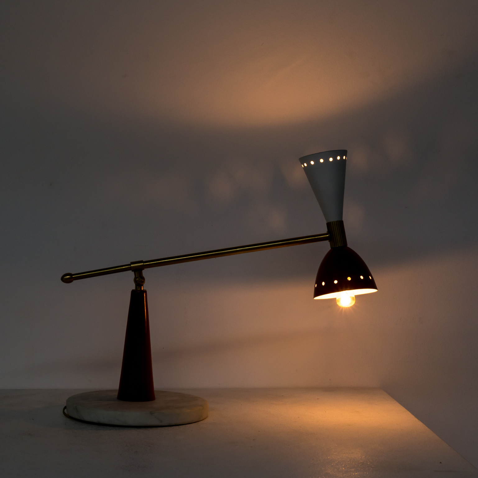 50s Stilnovo Diabolo Table Lamp With Marble Foot Barbmama