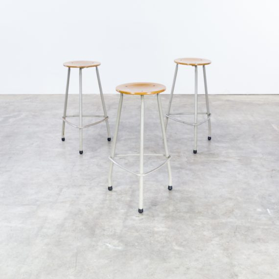 1964 Rare Friso Kramer Coffee Table For Ahrend De Cirkel: Friso Kramer Set Stools For Ahrend De Cirkel Set/3