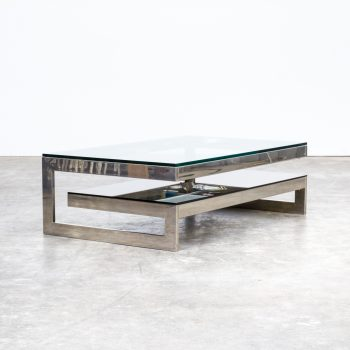 0628038TST-belgo chrom-coffee table-chrome-brown-glass-two tier-vintage-retro-design-barbmama-1001