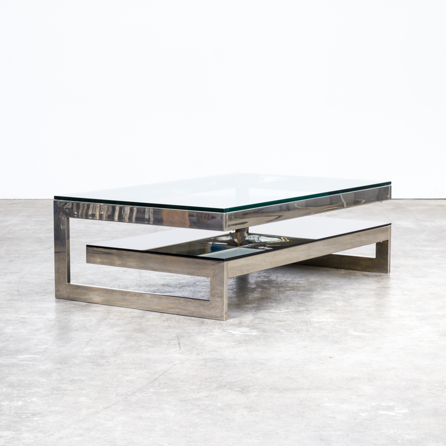 70s Two Tier Chrome And Glass Coffee Table For Belgo Chrom Barbmama