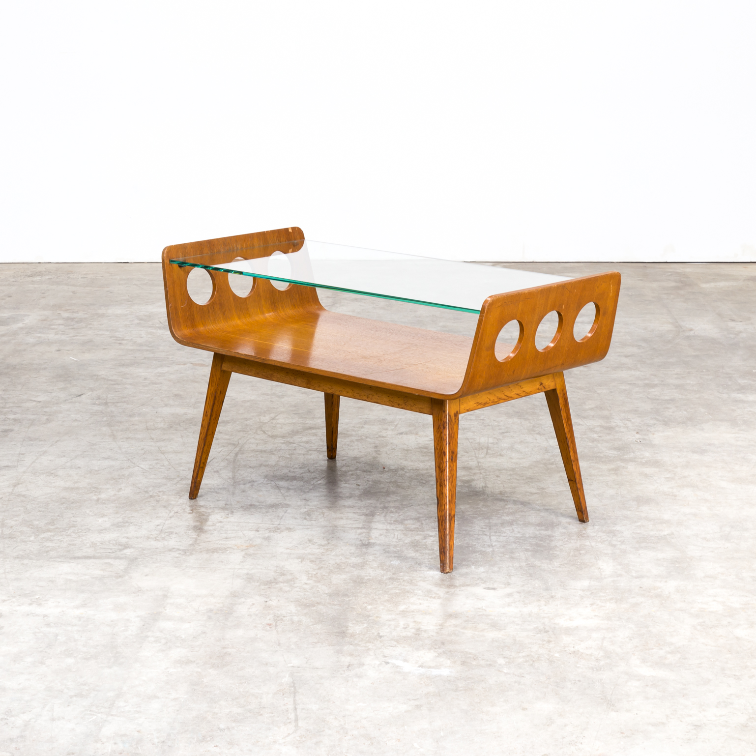 0225048tst cor alons coffee table bentwood glass salontafel vintage