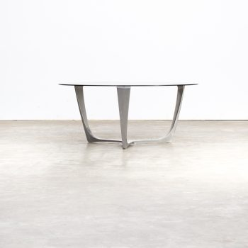 80s full aluminium frame coffee table smoked glass tabletop